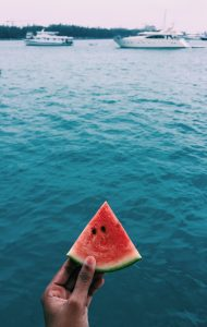 person holding sliced watermelon near body of water